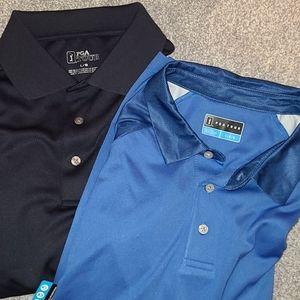 Bundle of 2 PGA Tour men's blue large golf shirts